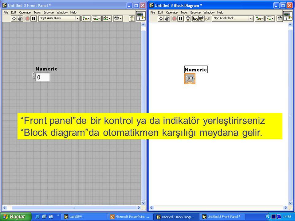 Front panel de bir kontrol ya da indikatör yerleştirirseniz Block diagram da otomatikmen karşılığı meydana gelir.