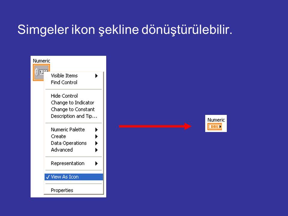 Simgeler ikon şekline dönüştürülebilir.