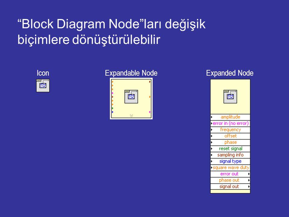 Block Diagram Node ları değişik biçimlere dönüştürülebilir Icon Expandable Node Expanded Node