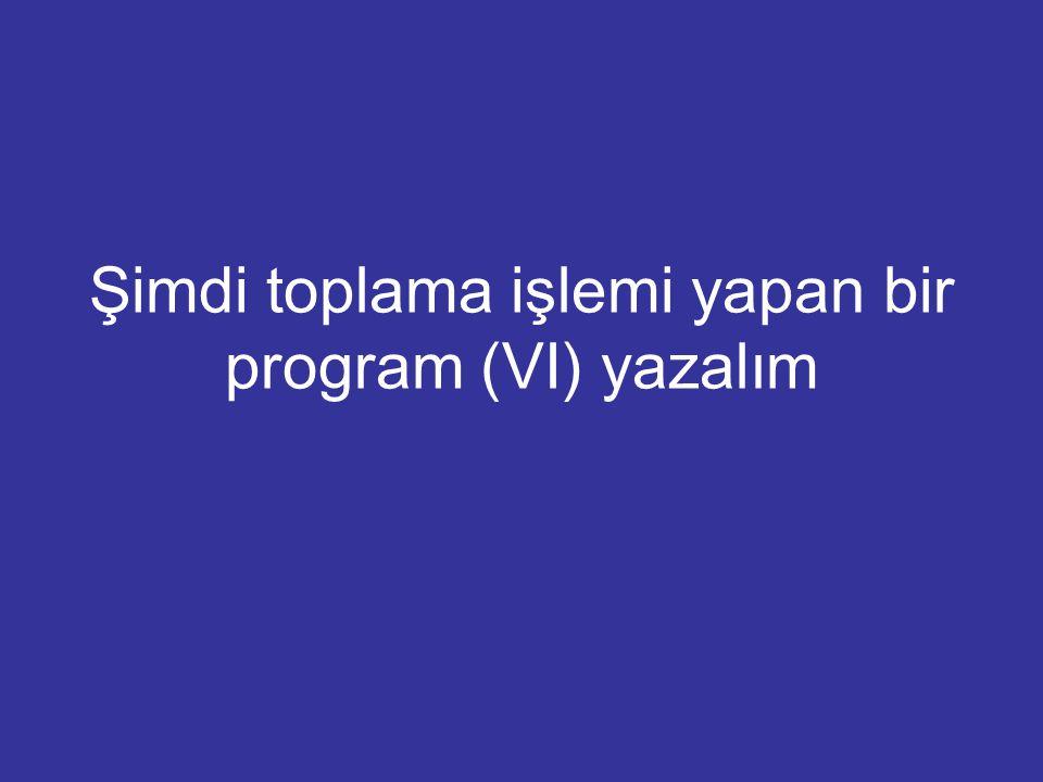 Şimdi toplama işlemi yapan bir program (VI) yazalım