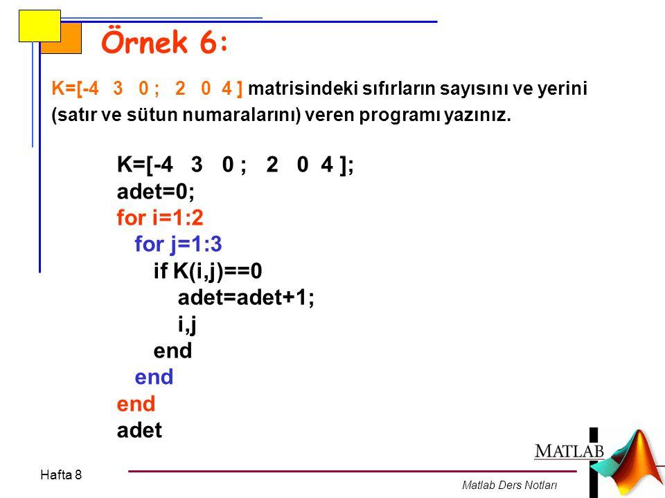 Hafta 8 Matlab Ders Notları Örnek 6: K=[-4 3 0 ; 2 0 4 ] matrisindeki sıfırların sayısını ve yerini (satır ve sütun numaralarını) veren programı yazın