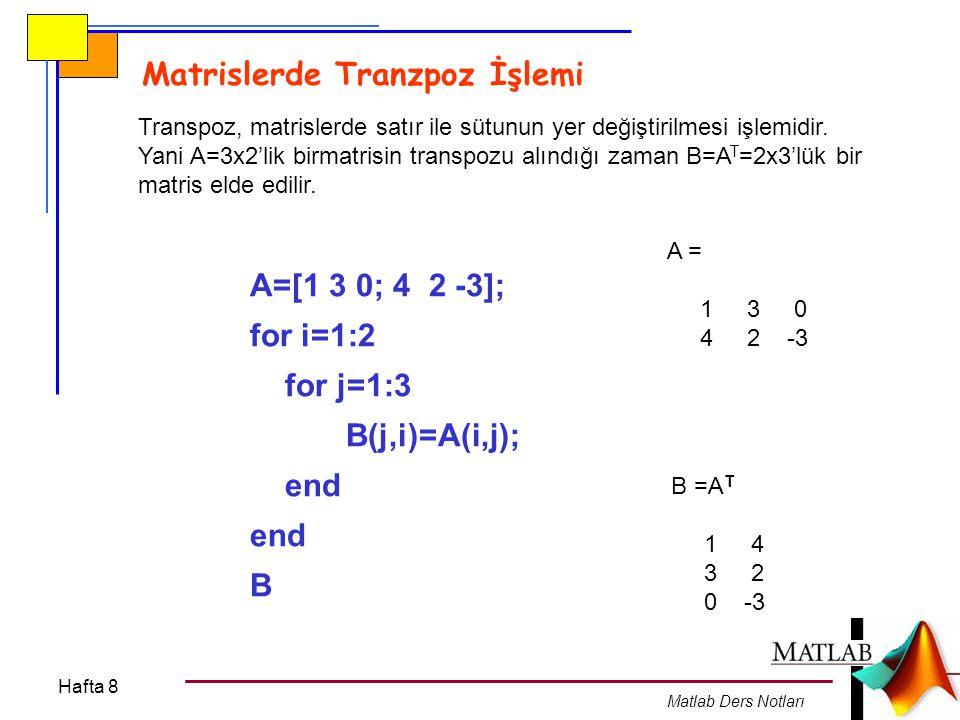 Hafta 8 Matlab Ders Notları Transpoz, matrislerde satır ile sütunun yer değiştirilmesi işlemidir. Yani A=3x2'lik birmatrisin transpozu alındığı zaman