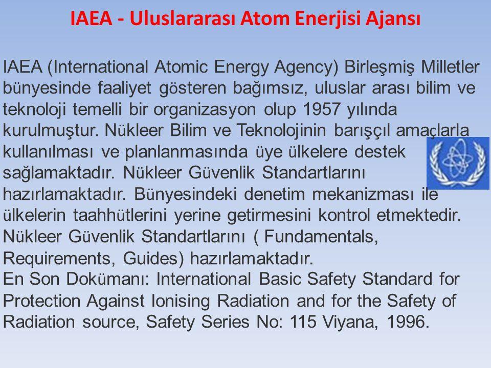IAEA (International Atomic Energy Agency) Birleşmiş Milletler b ü nyesinde faaliyet g ö steren bağımsız, uluslar arası bilim ve teknoloji temelli bir organizasyon olup 1957 yılında kurulmuştur.