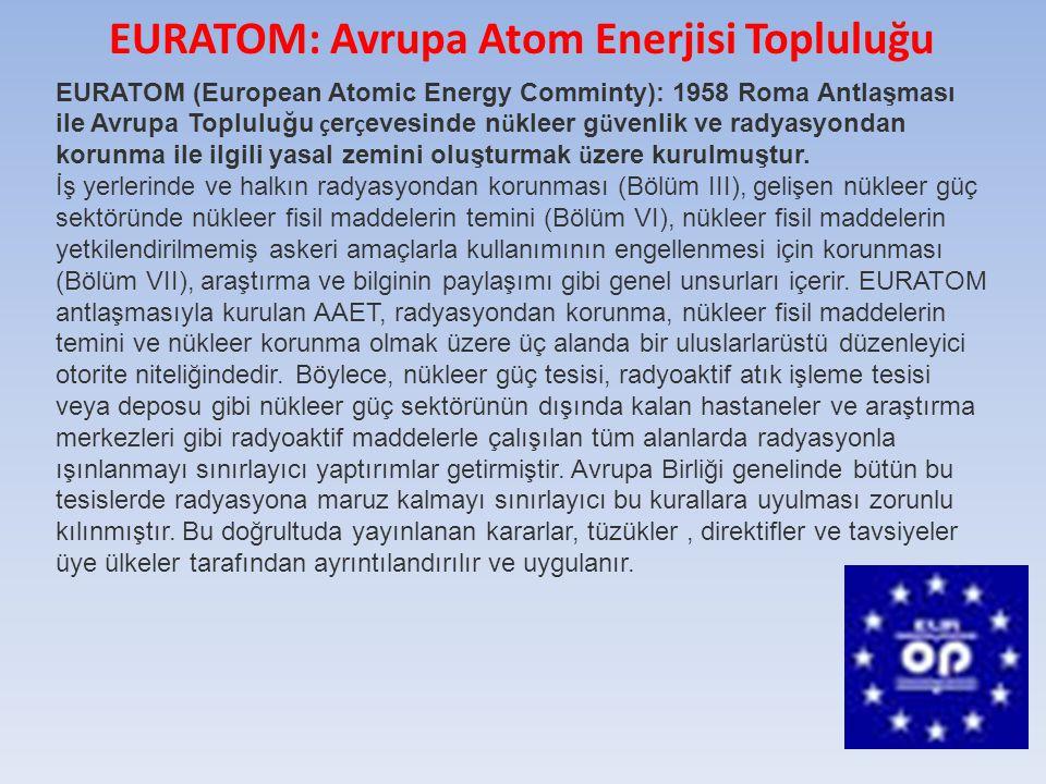 EURATOM (European Atomic Energy Comminty): 1958 Roma Antlaşması ile Avrupa Topluluğu ç er ç evesinde n ü kleer g ü venlik ve radyasyondan korunma ile ilgili yasal zemini oluşturmak ü zere kurulmuştur.
