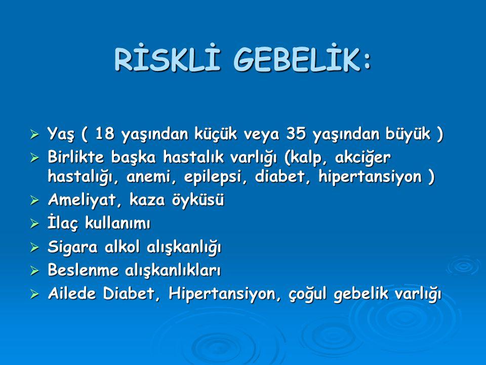 RİSKLİ GEBELİK:  Yaş ( 18 yaşından küçük veya 35 yaşından büyük )  Birlikte başka hastalık varlığı (kalp, akciğer hastalığı, anemi, epilepsi, diabet, hipertansiyon )  Ameliyat, kaza öyküsü  İlaç kullanımı  Sigara alkol alışkanlığı  Beslenme alışkanlıkları  Ailede Diabet, Hipertansiyon, çoğul gebelik varlığı
