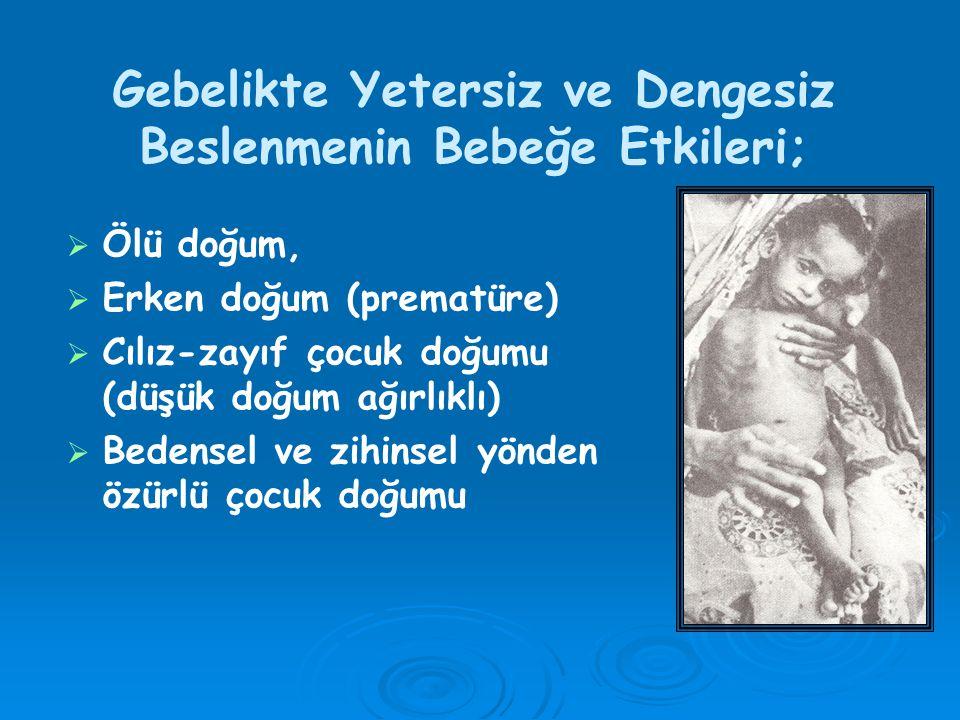 Gebelikte Yetersiz ve Dengesiz Beslenmenin Bebeğe Etkileri;   Ölü doğum,   Erken doğum (prematüre)   Cılız-zayıf çocuk doğumu (düşük doğum ağırlıklı)   Bedensel ve zihinsel yönden özürlü çocuk doğumu