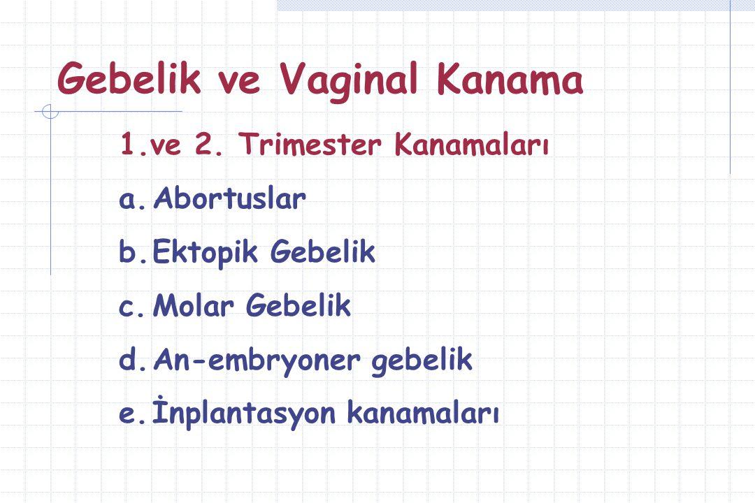 Gebelik ve Vaginal Kanama 3.Trimester Kanamaları a.Ablatio Plasenta b.Plasenta Previa c.EDT d.Marginal Sinüs Rüptürü e.Nişan gelmesi