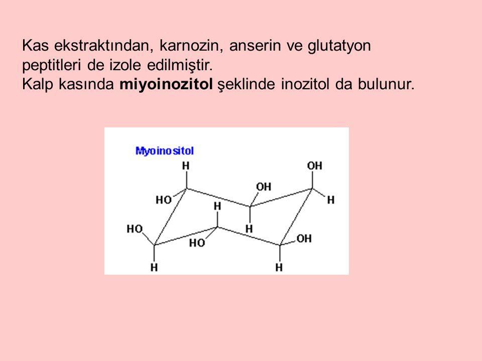 Kas ekstraktından, karnozin, anserin ve glutatyon peptitleri de izole edilmiştir. Kalp kasında miyoinozitol şeklinde inozitol da bulunur.