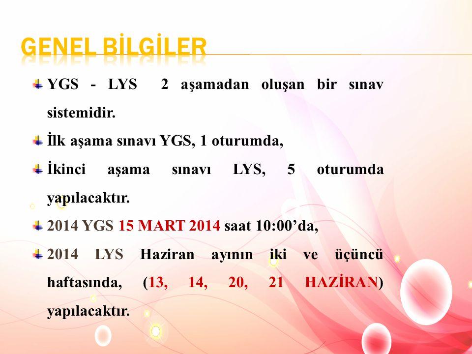 YGS - LYS 2 aşamadan oluşan bir sınav sistemidir. İlk aşama sınavı YGS, 1 oturumda, İkinci aşama sınavı LYS, 5 oturumda yapılacaktır. 2014 YGS 15 MART