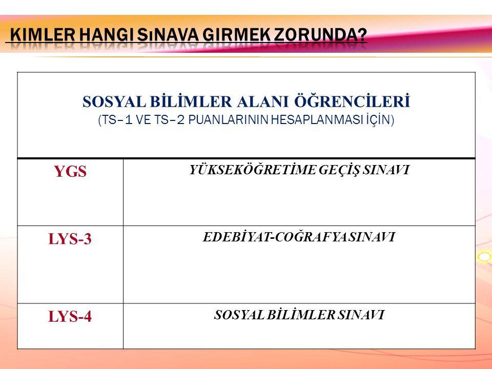 SOSYAL BİLİMLER ALANI ÖĞRENCİLERİ (TS–1 VE TS–2 PUANLARININ HESAPLANMASI İÇİN) YGS YÜKSEKÖĞRETİME GEÇİŞ SINAVI LYS-3 EDEBİYAT-COĞRAFYA SINAVI LYS-4 SO