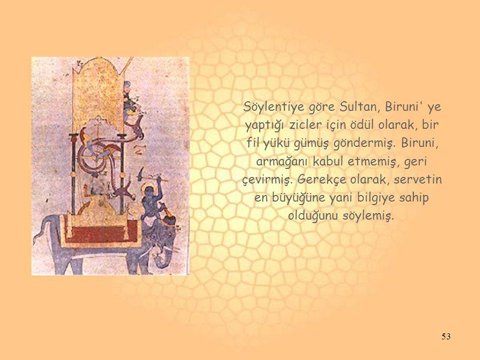 Söylentiye göre Sultan, Biruni ye yaptığı zicler için ödül olarak, bir fil yükü gümüş göndermiş.