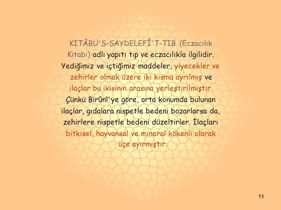 KİTÂBÜ S-SAYDELEFÎ T-TIB (Eczacılık Kitabı) adlı yapıtı tıp ve eczacılıkla ilgilidir.