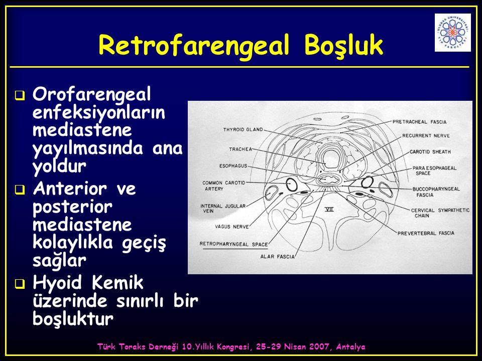 Türk Toraks Derneği 10.Yıllık Kongresi, 25-29 Nisan 2007, Antalya Retrofarengeal Boşluk  Orofarengeal enfeksiyonların mediastene yayılmasında ana yoldur  Anterior ve posterior mediastene kolaylıkla geçiş sağlar  Hyoid Kemik üzerinde sınırlı bir boşluktur