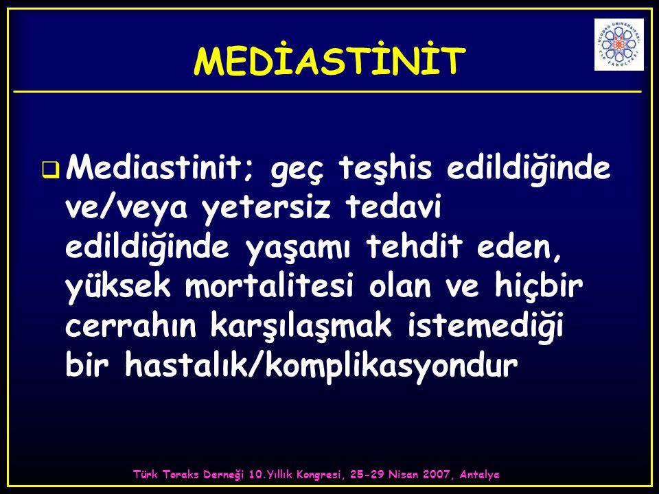 Türk Toraks Derneği 10.Yıllık Kongresi, 25-29 Nisan 2007, Antalya MEDİASTİNİT  Mediastinit; geç teşhis edildiğinde ve/veya yetersiz tedavi edildiğinde yaşamı tehdit eden, yüksek mortalitesi olan ve hiçbir cerrahın karşılaşmak istemediği bir hastalık/komplikasyondur