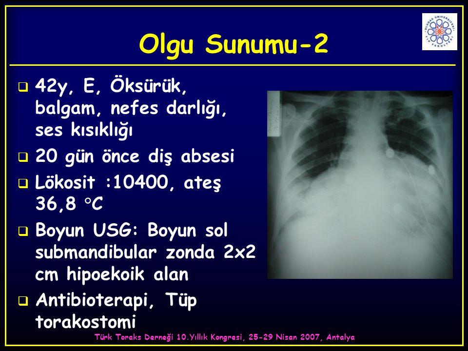 Türk Toraks Derneği 10.Yıllık Kongresi, 25-29 Nisan 2007, Antalya Olgu Sunumu-2  42y, E, Öksürük, balgam, nefes darlığı, ses kısıklığı  20 gün önce diş absesi  Lökosit :10400, ateş 36,8 °C  Boyun USG: Boyun sol submandibular zonda 2x2 cm hipoekoik alan  Antibioterapi, Tüp torakostomi