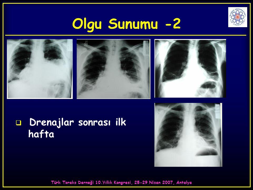 Türk Toraks Derneği 10.Yıllık Kongresi, 25-29 Nisan 2007, Antalya  Drenajlar sonrası ilk hafta Olgu Sunumu -2