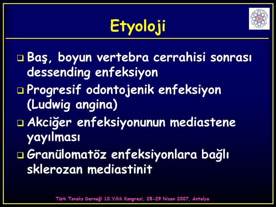 Türk Toraks Derneği 10.Yıllık Kongresi, 25-29 Nisan 2007, Antalya KLİNİK BULGULAR  Substernal ağrı  İlerleyen disfaji  Öksürük ve nefes darlığı  Mediastinal absenin plevral boşluklara açılmasıyla ampiyem veya reaksiyonel effüzyonlar da gözlenebilir