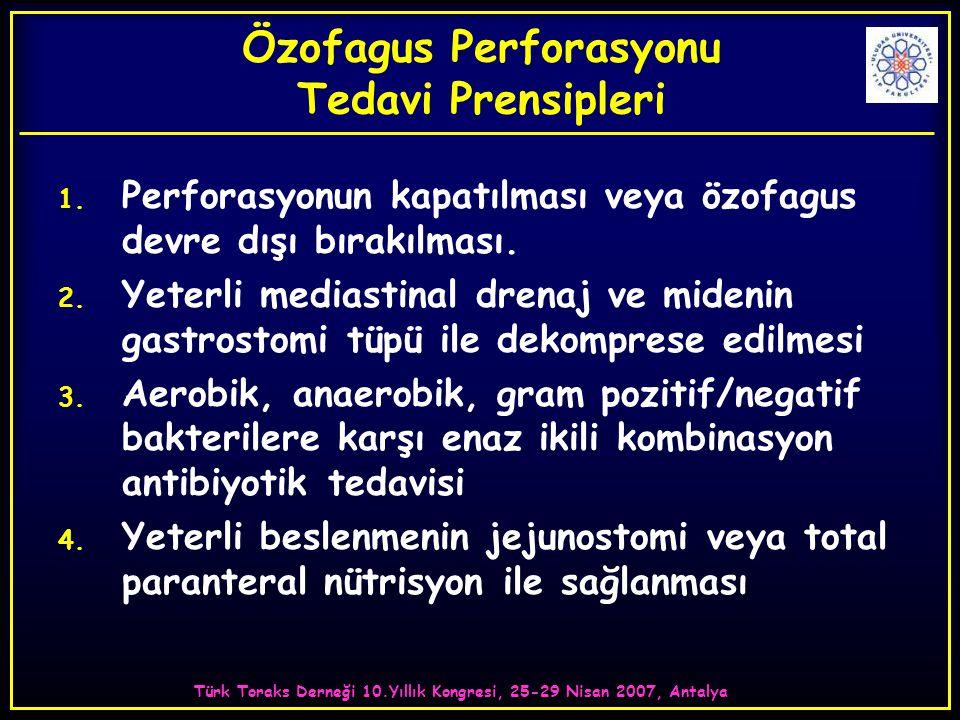 Türk Toraks Derneği 10.Yıllık Kongresi, 25-29 Nisan 2007, Antalya Özofagus Perforasyonu Tedavi Prensipleri 1. Perforasyonun kapatılması veya özofagus