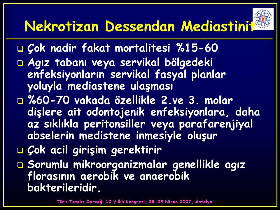 Türk Toraks Derneği 10.Yıllık Kongresi, 25-29 Nisan 2007, Antalya Nekrotizan Dessendan Mediastinit  Çok nadir fakat mortalitesi %15-60  Agız tabanı