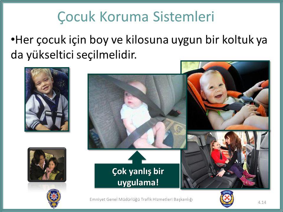 Emniyet Genel Müdürlüğü Trafik Hizmetleri Başkanlığı Her çocuk için boy ve kilosuna uygun bir koltuk ya da yükseltici seçilmelidir. Çocuk Koruma Siste