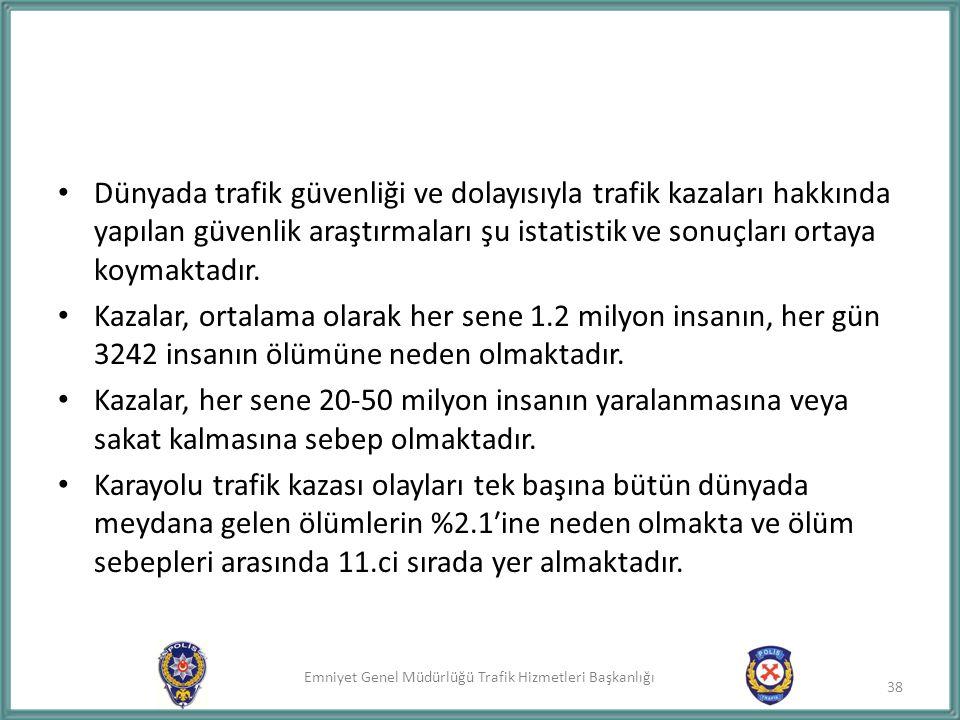 Emniyet Genel Müdürlüğü Trafik Hizmetleri Başkanlığı Dünyada trafik güvenliği ve dolayısıyla trafik kazaları hakkında yapılan güvenlik araştırmaları ş