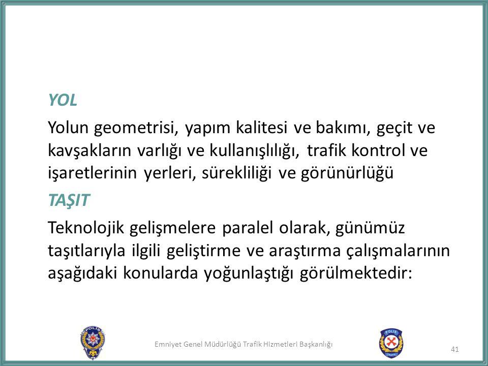 Emniyet Genel Müdürlüğü Trafik Hizmetleri Başkanlığı 41 YOL Yolun geometrisi, yapım kalitesi ve bakımı, geçit ve kavşakların varlığı ve kullanışlılığı