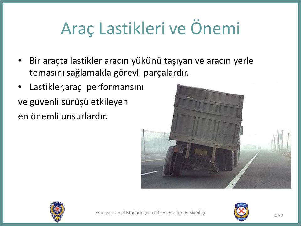 Emniyet Genel Müdürlüğü Trafik Hizmetleri Başkanlığı Bir araçta lastikler aracın yükünü taşıyan ve aracın yerle temasını sağlamakla görevli parçalardı