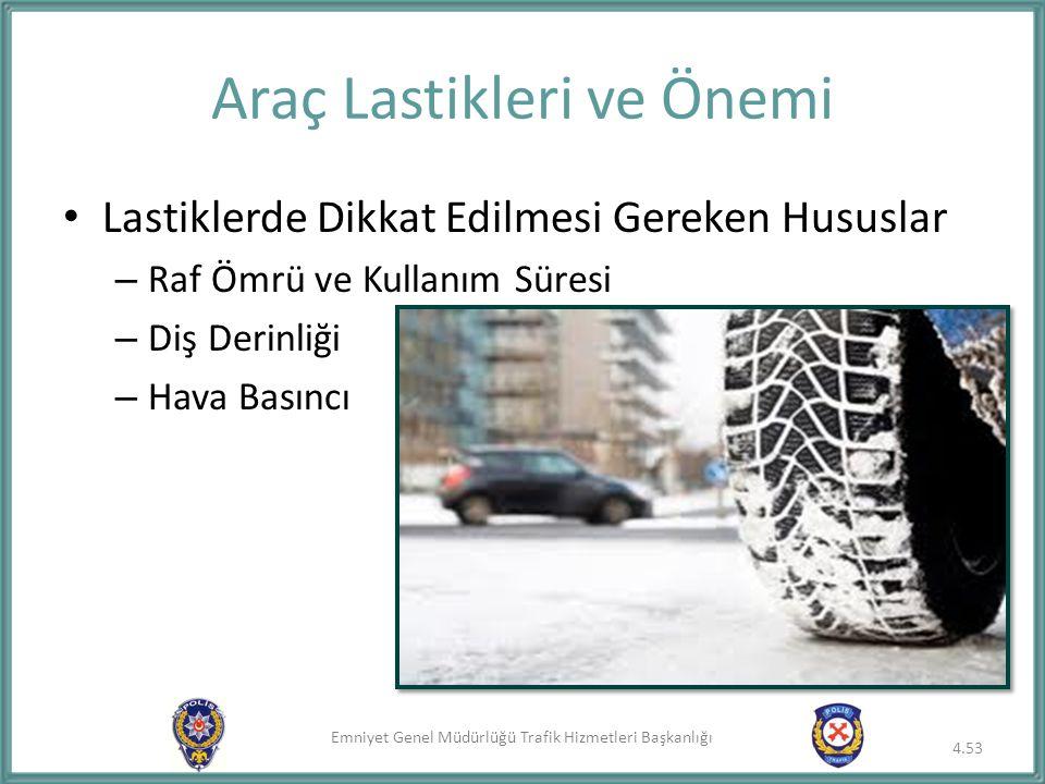 Emniyet Genel Müdürlüğü Trafik Hizmetleri Başkanlığı Lastiklerde Dikkat Edilmesi Gereken Hususlar – Raf Ömrü ve Kullanım Süresi – Diş Derinliği – Hava