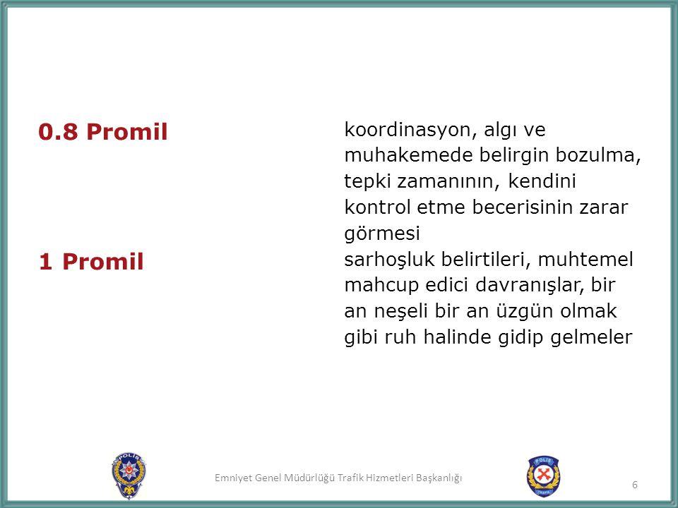 Emniyet Genel Müdürlüğü Trafik Hizmetleri Başkanlığı 1.5 Promil ayakta durma, yürüme ve konuşmada güçlük çekme, denge ve koordinasyonun kaybedilmesi, belirgin olarak sarhoşluk hali 7