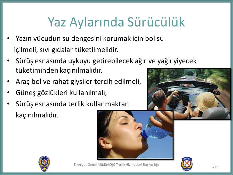 Emniyet Genel Müdürlüğü Trafik Hizmetleri Başkanlığı Yazın vücudun su dengesini korumak için bol su içilmeli, sıvı gıdalar tüketilmelidir. Sürüş esnas