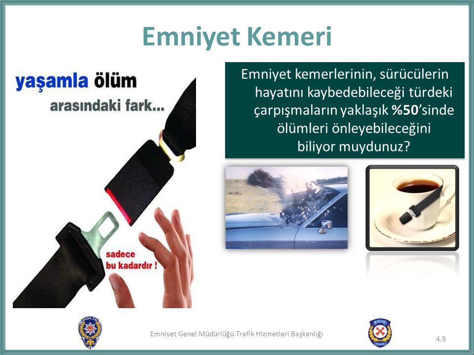 Emniyet Genel Müdürlüğü Trafik Hizmetleri Başkanlığı Emniyet Kemeri %50 Emniyet kemerlerinin, sürücülerin hayatını kaybedebileceği türdeki çarpışmalar