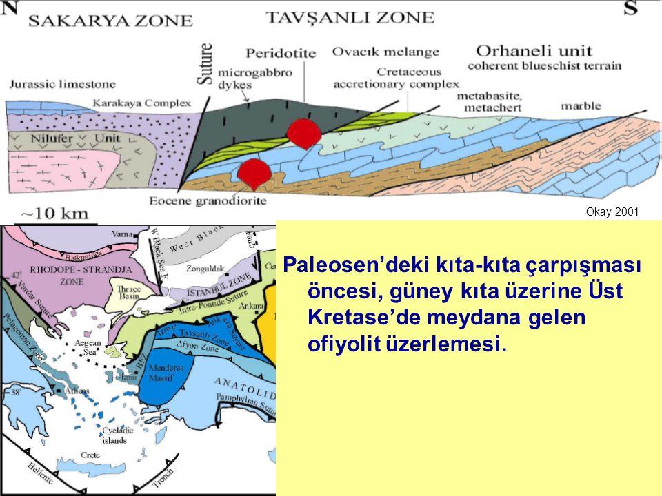 Okay 2001 Ofiyolit üzerlemesi sırasında güney kıtanın (Anatolid-Torid Bloğu) okyanusa bakan kenarı 60 km'den daha derine gömülerek deformasyona uğramış ve mavişist fasiyesinde metamorfizma geçirmiştir.