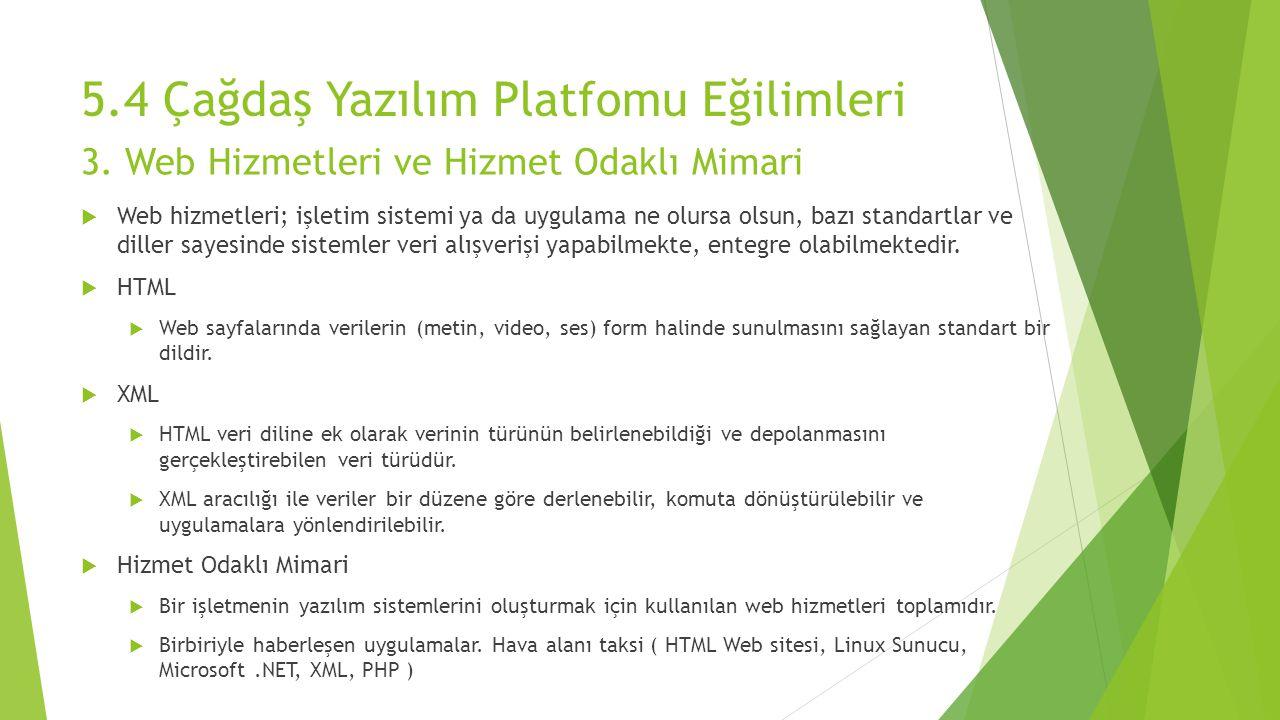 5.4 Çağdaş Yazılım Platfomu Eğilimleri  Web hizmetleri; işletim sistemi ya da uygulama ne olursa olsun, bazı standartlar ve diller sayesinde sistemle