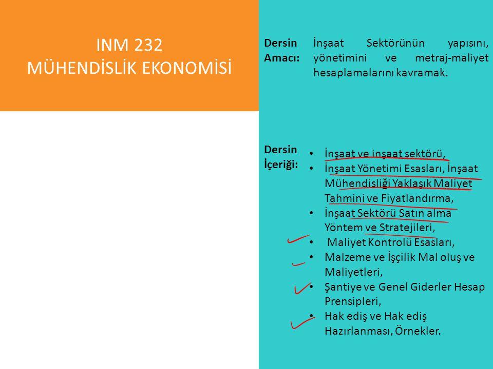 INM 232 MÜHENDİSLİK EKONOMİSİ İnşaat Sektörünün yapısını, yönetimini ve metraj-maliyet hesaplamalarını kavramak. Dersin İçeriği: İnşaat ve inşaat sekt