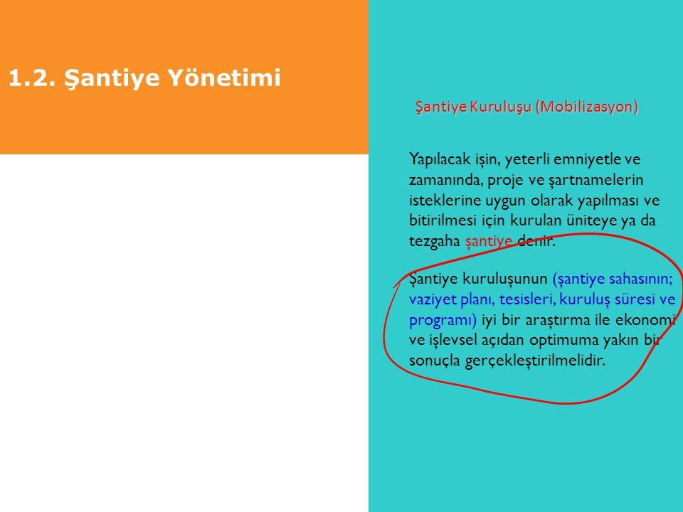 1.2. Şantiye Yönetimi Şantiye Kuruluşu (Mobilizasyon) Yapılacak işin, yeterli emniyetle ve zamanında, proje ve şartnamelerin isteklerine uygun olarak