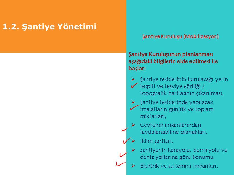 1.2. Şantiye Yönetimi Şantiye Kuruluşu (Mobilizasyon) Şantiye Kuruluşunun planlanması aşağıdaki bilgilerin elde edilmesi ile başlar:  Şantiye tesisle