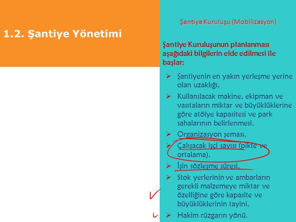 1.2. Şantiye Yönetimi Şantiye Kuruluşu (Mobilizasyon) Şantiye Kuruluşunun planlanması aşağıdaki bilgilerin elde edilmesi ile başlar:  Şantiyenin en y