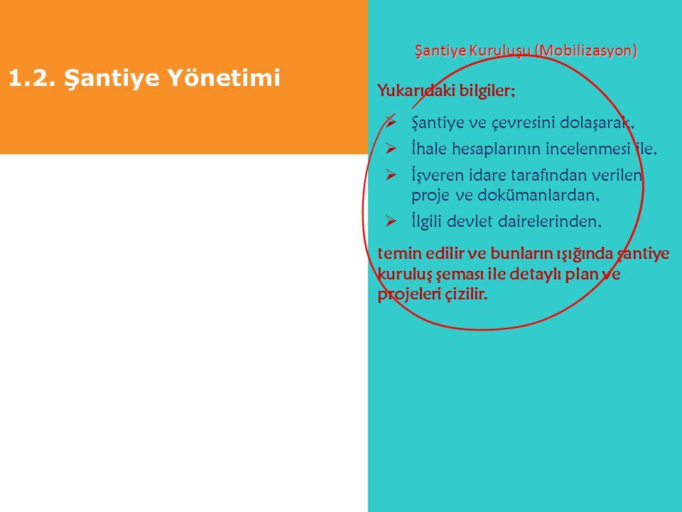 1.2. Şantiye Yönetimi Şantiye Kuruluşu (Mobilizasyon) Yukarıdaki bilgiler;  Şantiye ve çevresini dolaşarak,  İhale hesaplarının incelenmesi ile,  İ