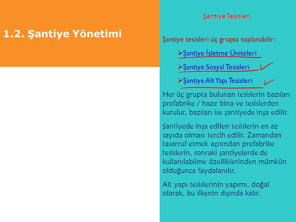 1.2. Şantiye Yönetimi Şantiye Tesisleri Şantiye tesisleri üç grupta toplanabilir:  Şantiye İ şletme Üniteleri  Şantiye Sosyal Tesisleri  Şantiye Al
