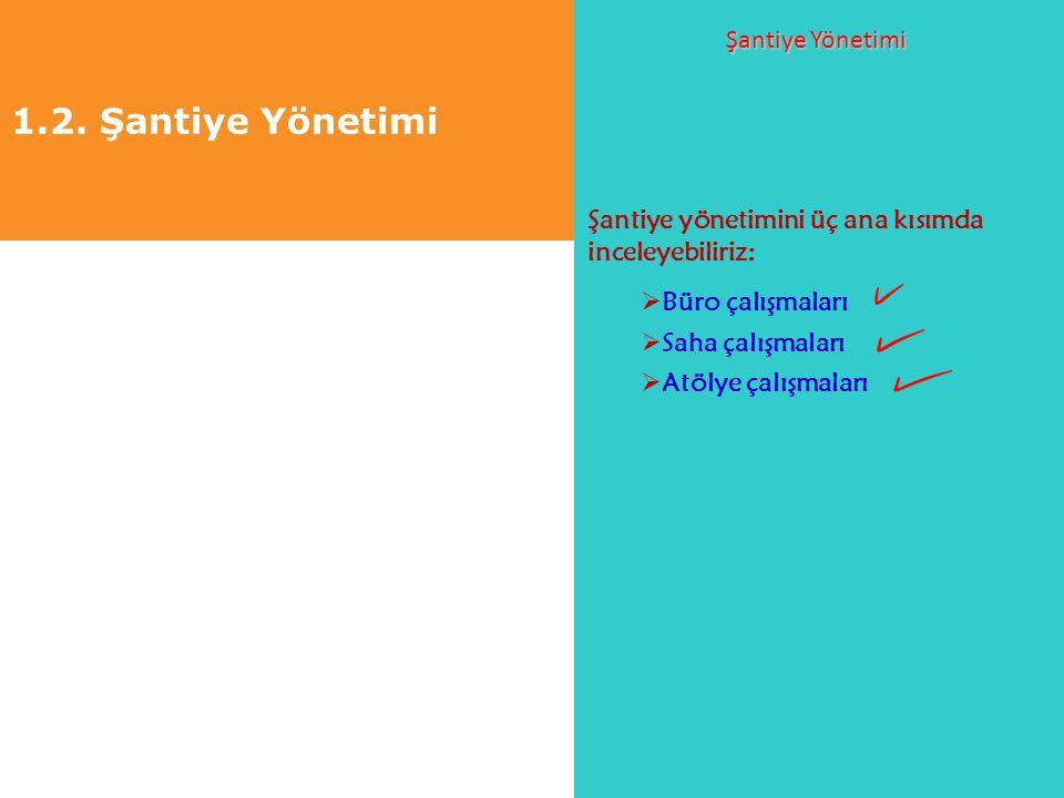 1.2. Şantiye Yönetimi Şantiye Yönetimi Şantiye yönetimini üç ana kısımda inceleyebiliriz:  Büro çalışmaları  Saha çalışmaları  Atölye çalışmaları