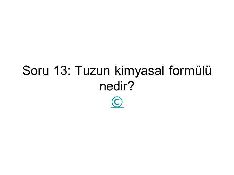 Soru 13: Tuzun kimyasal formülü nedir? © ©