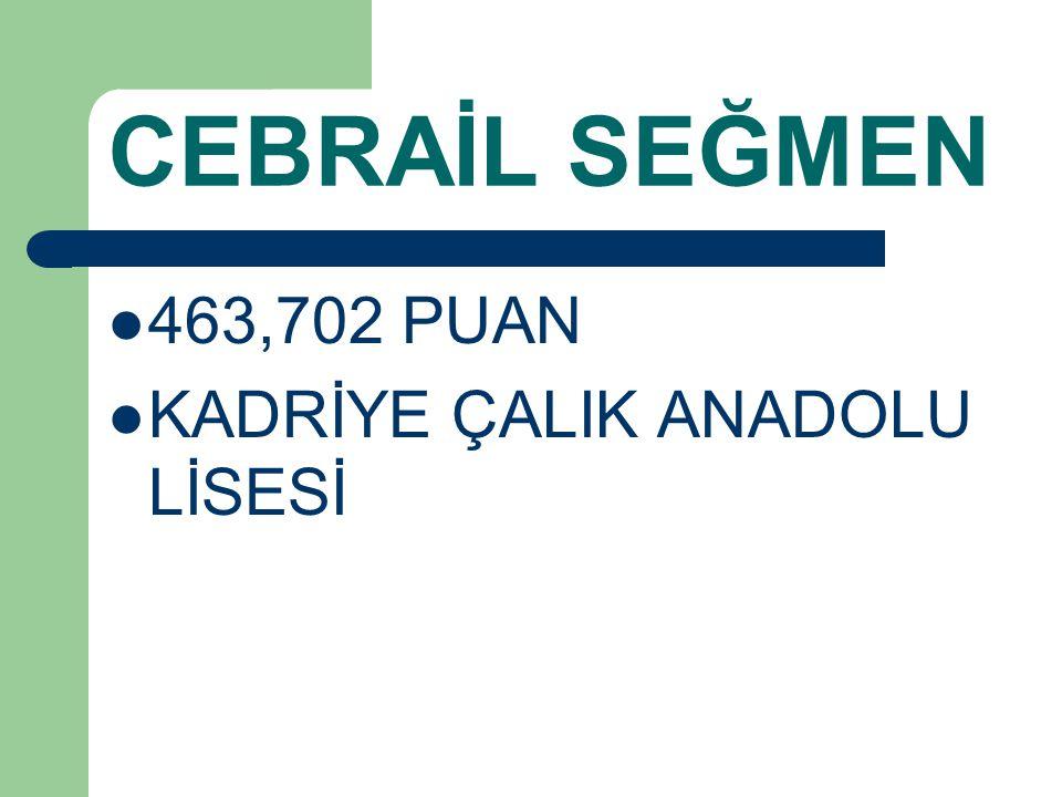 CEBRAİL SEĞMEN 463,702 PUAN KADRİYE ÇALIK ANADOLU LİSESİ