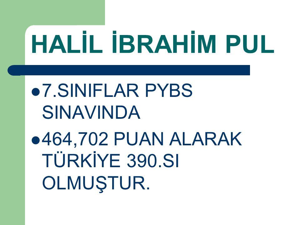 HALİL İBRAHİM PUL 7.SINIFLAR PYBS SINAVINDA 464,702 PUAN ALARAK TÜRKİYE 390.SI OLMUŞTUR.