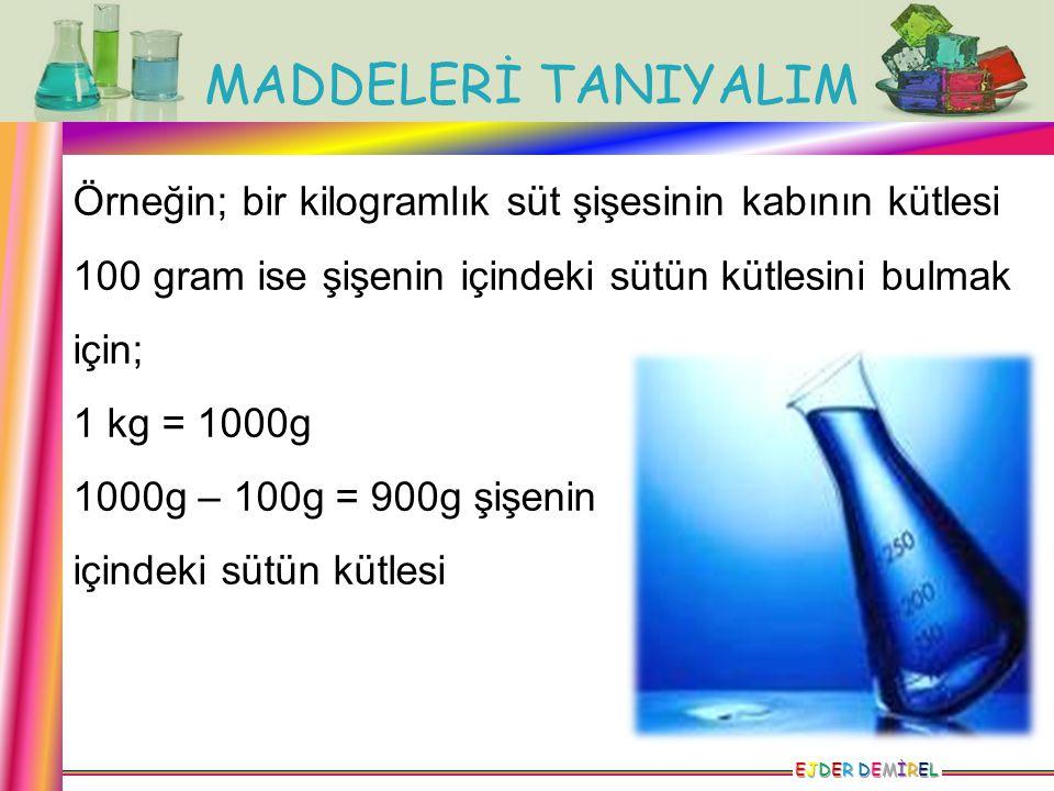 MADDELERİ TANIYALIM EJDER DEMİRELEJDER DEMİRELEJDER DEMİRELEJDER DEMİREL Örneğin; bir kilogramlık süt şişesinin kabının kütlesi 100 gram ise şişenin i