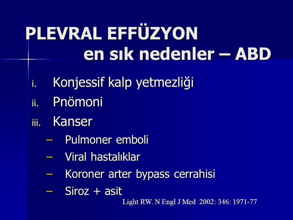 PLEVRAL EFFÜZYON en sık nedenler – ABD i. Konjessif kalp yetmezliği ii. Pnömoni iii. Kanser –Pulmoner emboli –Viral hastalıklar –Koroner arter bypass