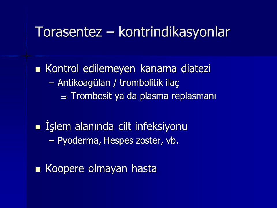 Torasentez – kontrindikasyonlar Kontrol edilemeyen kanama diatezi Kontrol edilemeyen kanama diatezi –Antikoagülan / trombolitik ilaç  Trombosit ya da
