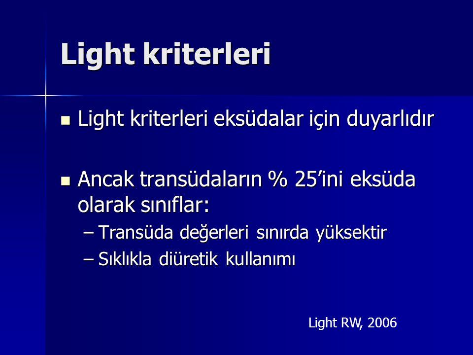 Light kriterleri Light kriterleri eksüdalar için duyarlıdır Light kriterleri eksüdalar için duyarlıdır Ancak transüdaların % 25'ini eksüda olarak sını