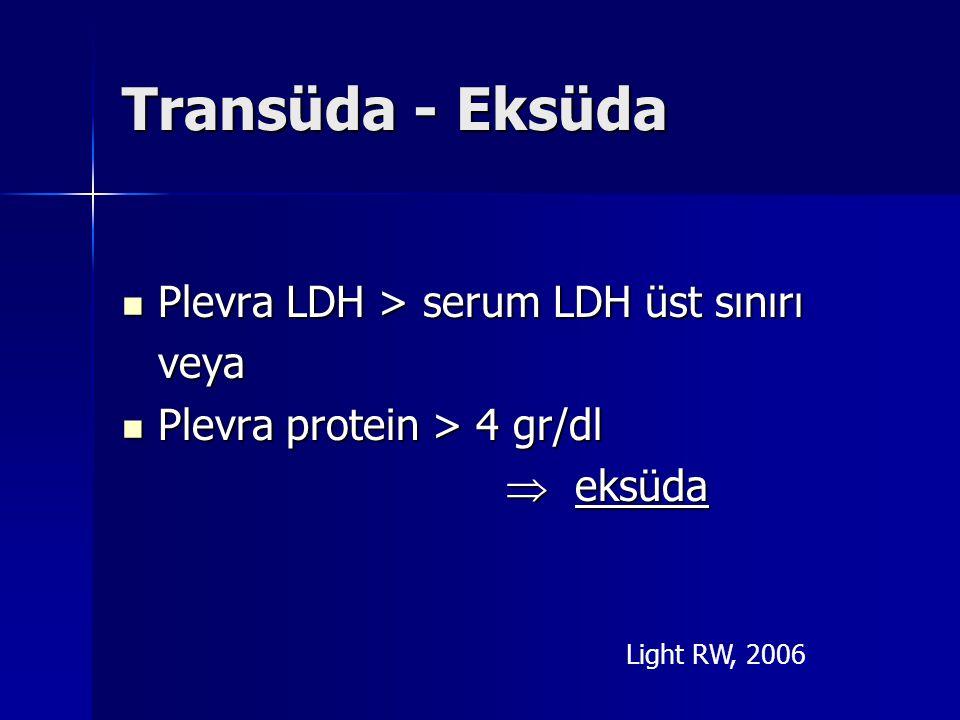 Transüda - Eksüda Plevra LDH > serum LDH üst sınırı Plevra LDH > serum LDH üst sınırı veya veya Plevra protein > 4 gr/dl Plevra protein > 4 gr/dl  ek