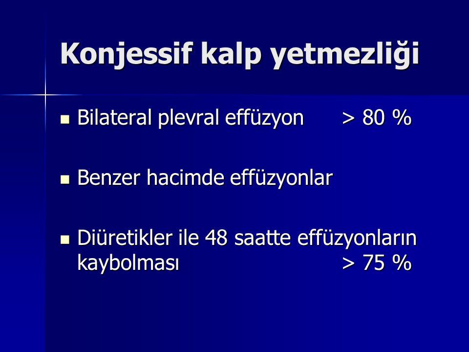 Konjessif kalp yetmezliği Bilateral plevral effüzyon> 80 % Bilateral plevral effüzyon> 80 % Benzer hacimde effüzyonlar Benzer hacimde effüzyonlar Diür