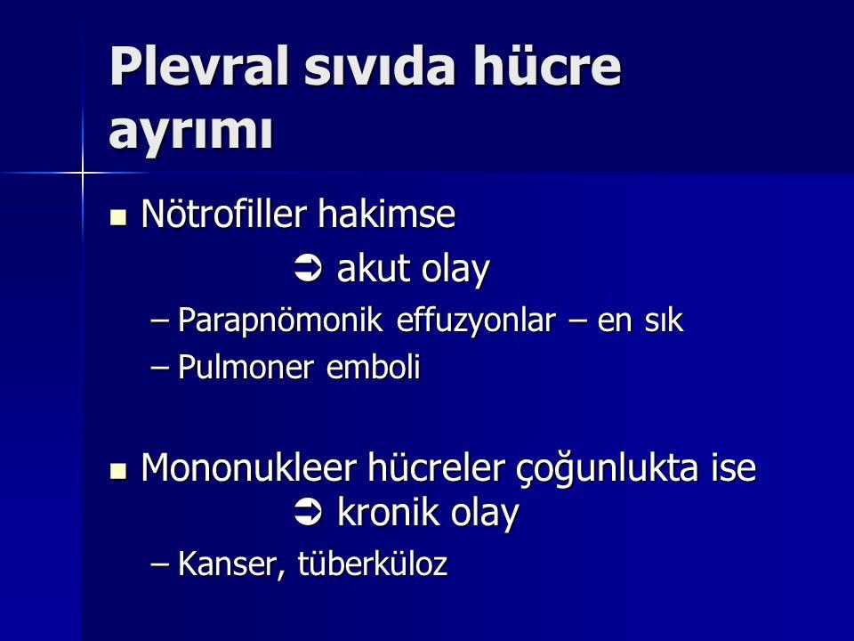 Plevral sıvıda hücre ayrımı Nötrofiller hakimse Nötrofiller hakimse  akut olay  akut olay –Parapnömonik effuzyonlar – en sık –Pulmoner emboli Mononu